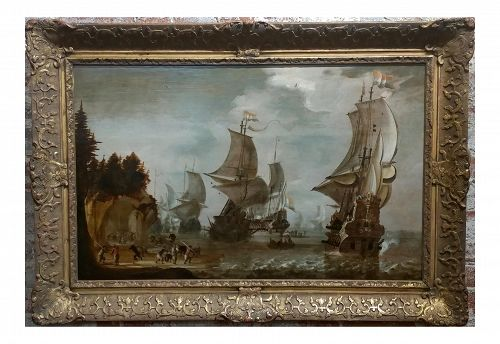 "17th C. Attributed to Abraham Storck ""Dutch Man-O-War at Bay"" Oil Painting"