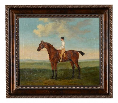 Antique English Oil Painting of a Racehorse & Rider by Francis Sartorius