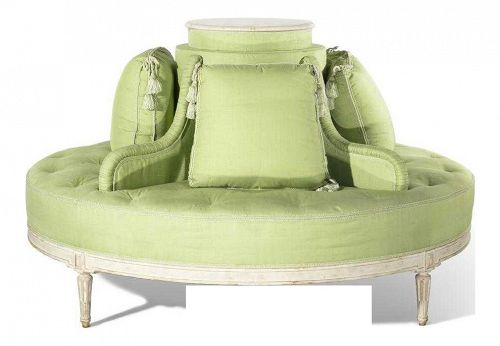 1920s Vintage Louis XVI Style Fabulous Painted & Upholstered Round Settee