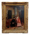 19th Century French Oil Painting by Jehan Georges Vibert, Woman Shocking Confession to a Priest