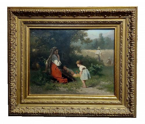 "19th Century Dutch ""Flowers for the Baby"" Oil Painting by Karel Frans Philippeau"