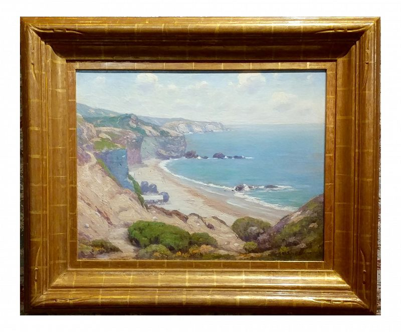 Charles L a Smith - Point Dume, Malibu California Impressionist Oil Painting, 1920s