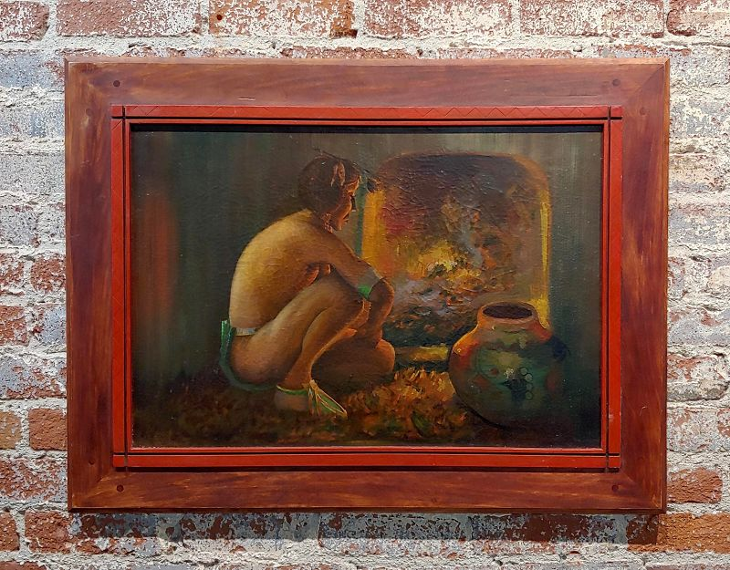 1950s Native American Oil Painting, Taos Pueblo Indian by the Fireplace