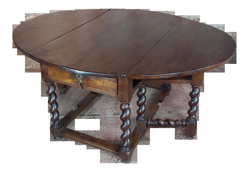 17th Century Walnut Gateleg Drop Leaf Table With Barley Twist Legs