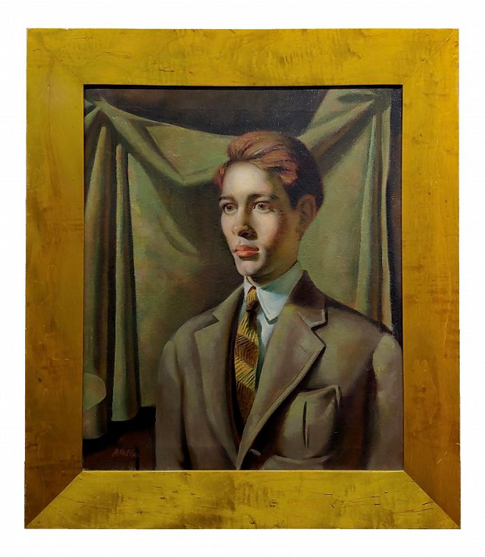 Portrait of a Young Man American Regionalism -OIl Painting by G. Hilton