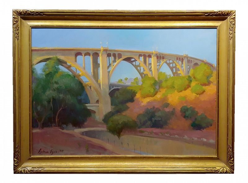 Arthur Bjorn Egeli -The Pasadena Suicide Bridge on Colorado Blvd- Impressionist Oil Painting