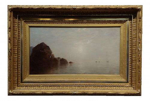 19th Century Oil Painting by John Bunyan Bristol - Fog Over Long Island Ny