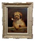 19th Century English School Oil Painting, Portrait of a Dog Smoking a Pipe