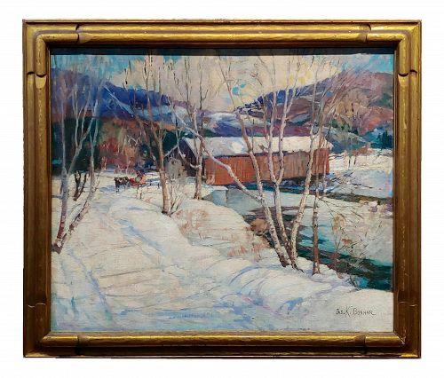 James King Bonnar 1920s Winter Landscape in Vermont - Oil Painting