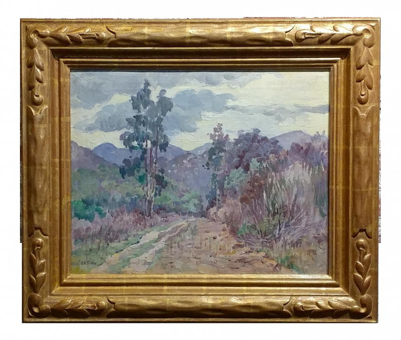Charles Fries Eucalyptus & Mountains Near Mussey Grade Oil Painting, 1930