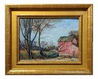 "1928 Walter Emerson Baum ""The Red Barn"" Oil Painting"