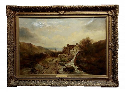 After John Constable - Cottage by the Sea -19th Century Oil Painting