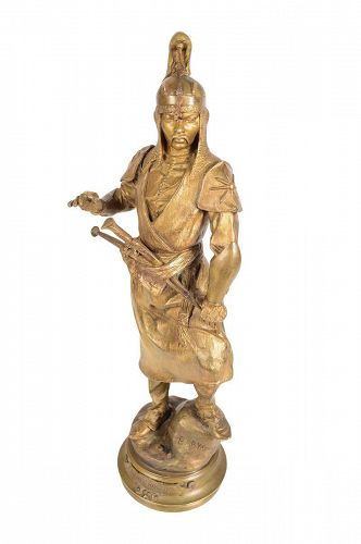 Gilt Bronze Sculpture of a Manchu Warrior