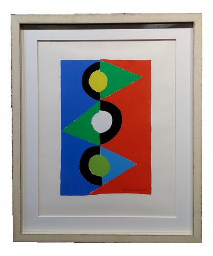 Sonia Delaunay Triangles Colorés -1959 Signed Lithograph