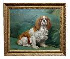 Georges Busson-Portrait of a Cavalier King Charles Spaniel-Oil Painting