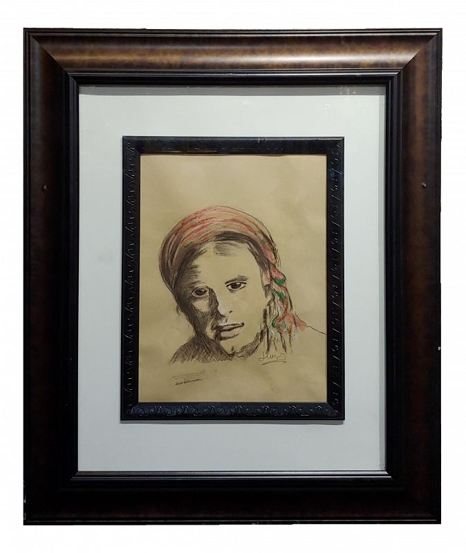 Leon Wyczólkowski -Portrait of a Woman in a Red Headscarf-Pastel Drawing on Paper