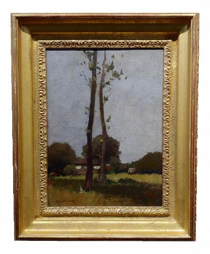 Impressionist William J. Kaula -New Hampshire Cottage Landscape Oil Painting