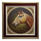 1970s Americana Marco Antonio Zepeda Oil Painting - Portrait of a Thoroughbred Horse