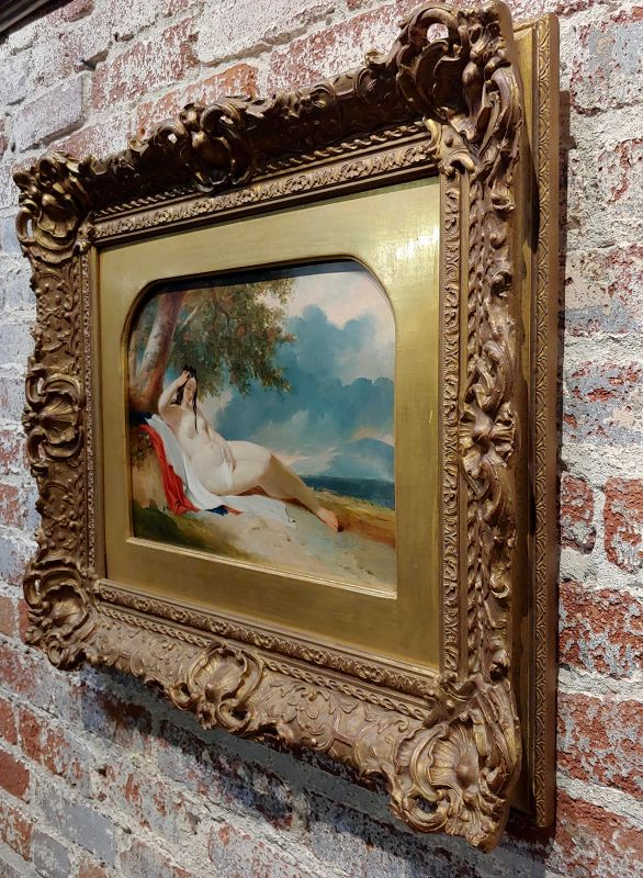 19th Century William Etty Nude Female Reclined on a Seashore Oil Painting