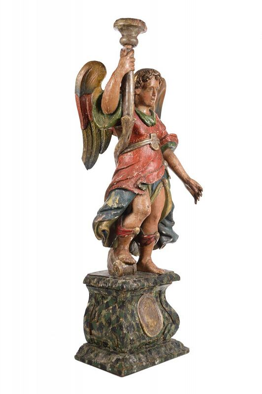 17th Century Venetian Polychrome & Giltwood Angel Torchères - A Pair