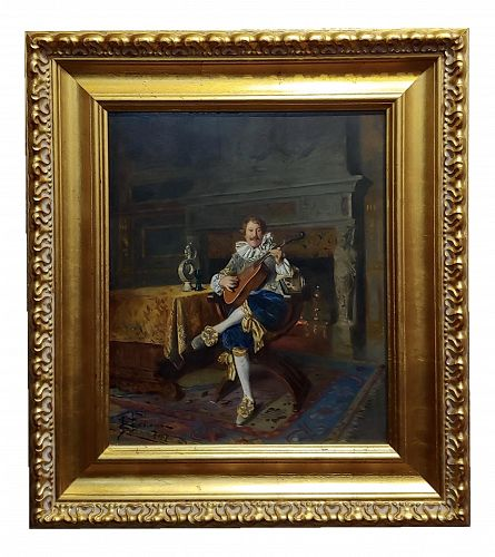 Bernard Louis Borione - the Musician-19th Century French Oil Painting