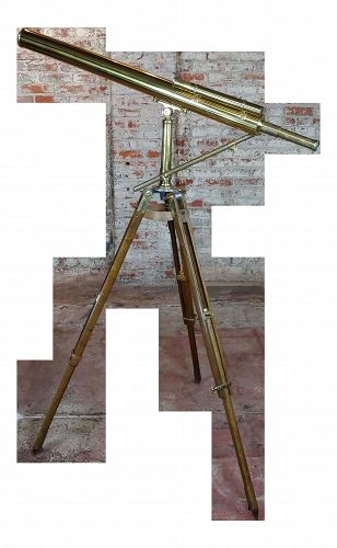 19th Century Brass Telescope With Adjustable Oak Tripod