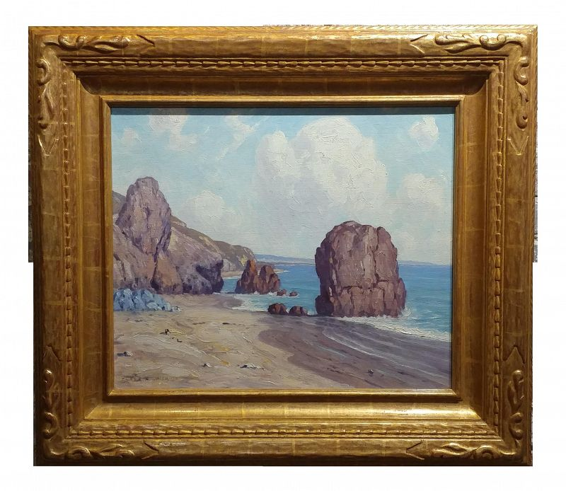 Charles L A Smith El Matador Beach, Malibu Oil Painting Impressionist, 1920s