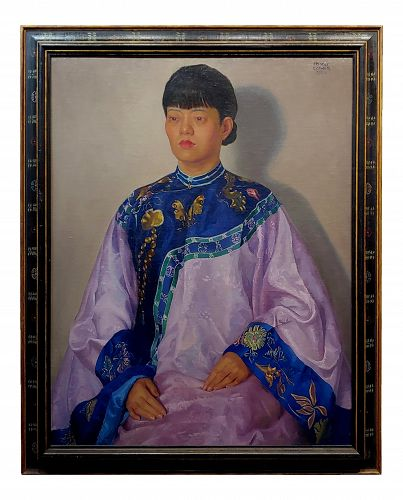 Dorothy McVey Cother 1920s Chinese Woman Wearing a Wedding Dress Oil Painting