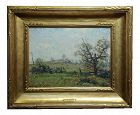 Henry Ward Ranger- Farm Landscape W/ Wooden Fence - Oil Painting