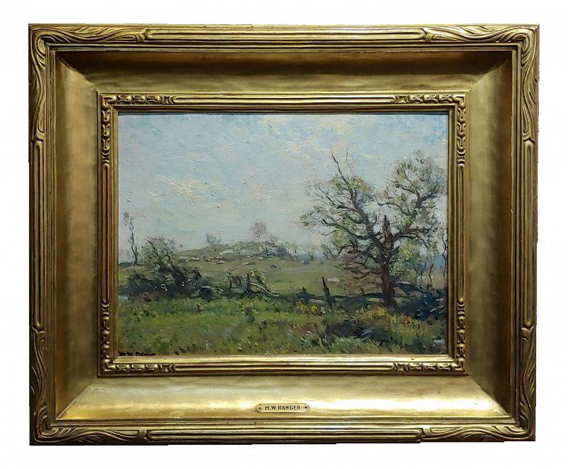 Henry Ward Ranger- Farm Landscape W/ Wooden Fence - Oil Painting