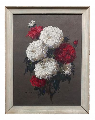 Stephan Fedorovic Kalesnikoff (Russia ) Bouquet of Chrysanthemums - Oil Painting