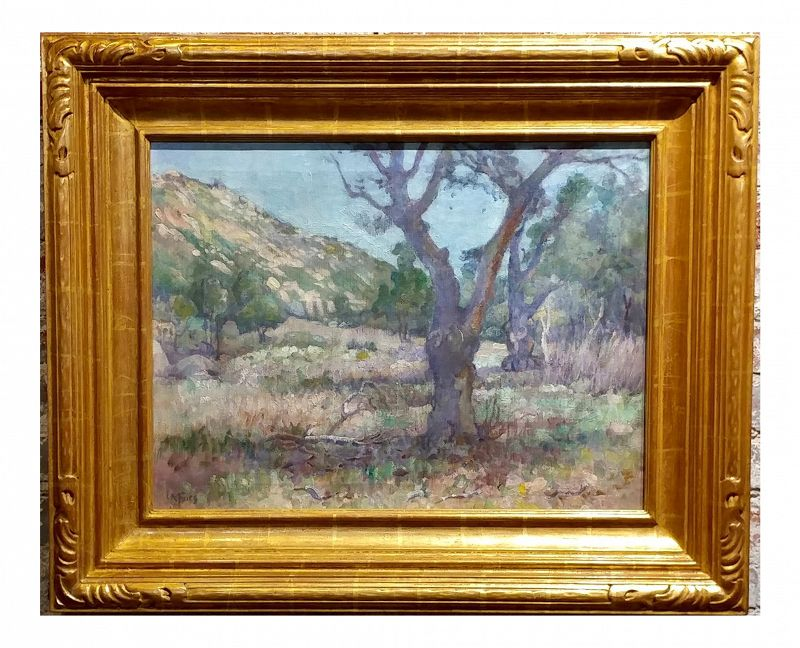 Charles Fries Oaks & Hills Near Mussey Grade California Oil Painting