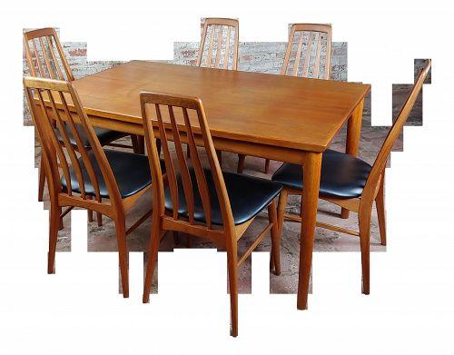 1960s Mid-Century Modern Teak Koefoeds Hornslet Dining Set - 7 Pieces