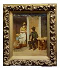 19th Century English School -Flirting Around Kids - Oil Painting-C1860s