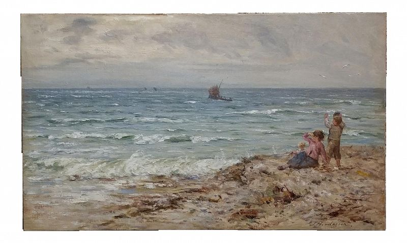 """19th Century Scottish """"Children by the Beach"""" Oil Painting by John Henderson"""
