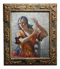 "1933 J. Barry Greene ""Gipsy Flamenco Dancer"" Oil Painting"