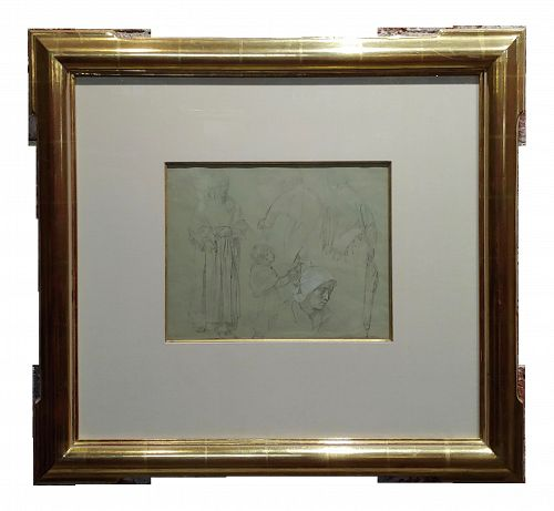 Leon Augustin Lhermitte -3 Women & a Child - Original Pencil Drawing -C1880s