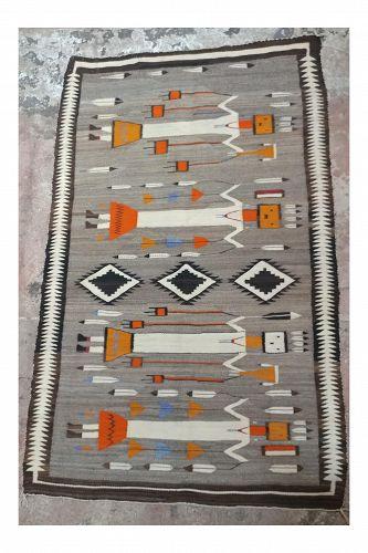 1920s Navajo Beautiful Native American Yei Rug- 3�9� � 6�1�