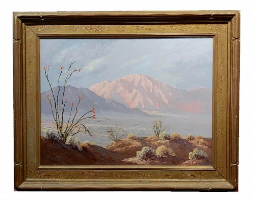 Chinese Oil Painting by John William Hilton -California Desert Landscape in Bloom