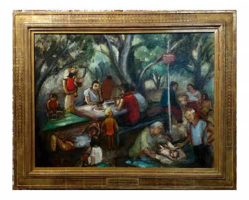 "1935 Frances Beatrice Lieberman S.F. Museum of Art ""Picnic at Alum Rock"" Oil Painting"