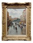 Impressionist Gustav Prucha Busy Parisian Street Scene After the Rain Oil Painting