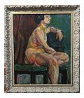 "Pinchus Kremegne ""Femme Seated Nude"" Expressionist Oil Painting"