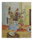Jules Cavailles -Still Life of Flowers and a Mask -Study Oil Painting-1956