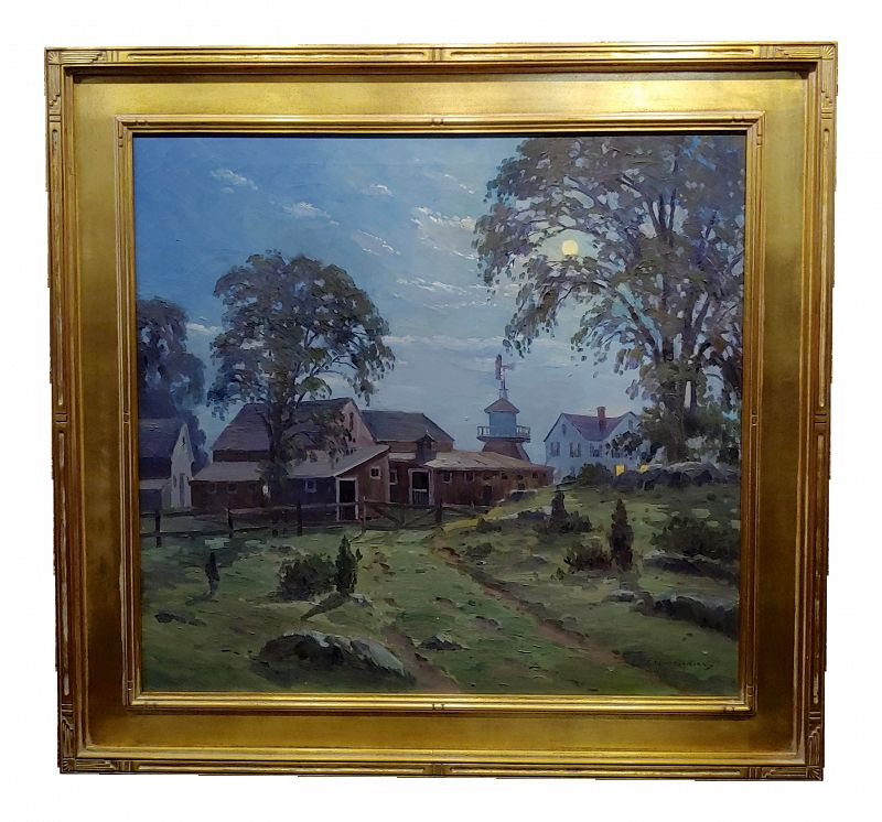 1930s Charles Gordon Harris -Moonlight Over a Farm in Rhode Island Oil Painting