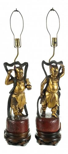 Chinese Carved Gilt Wood Figural Lamps - A Pair