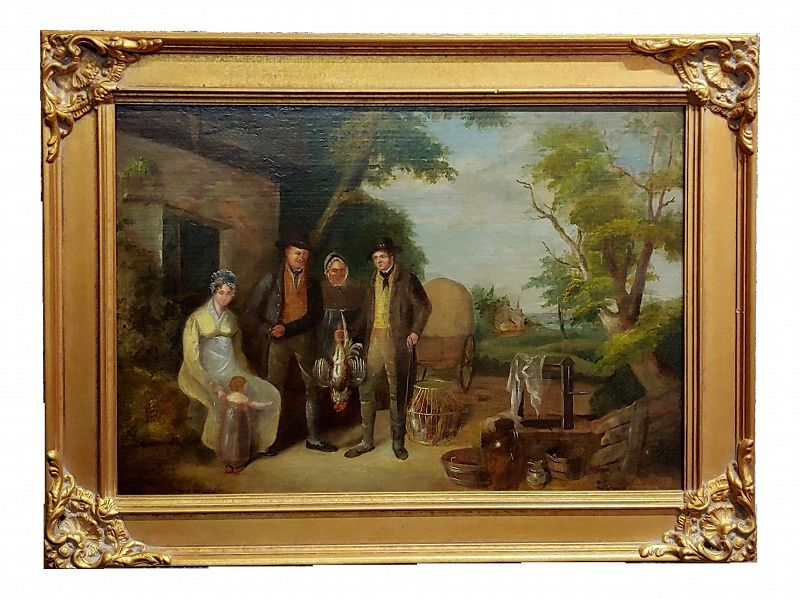 "19th Century English School ""Family Outside Their Farm"" Oil Painting"