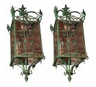 Etched Glass Bronze Lanterns - A Pair