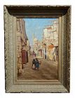 Matilda Lotz -Street in Cairo -Beautiful 19th Century Orientalist Oil Painting