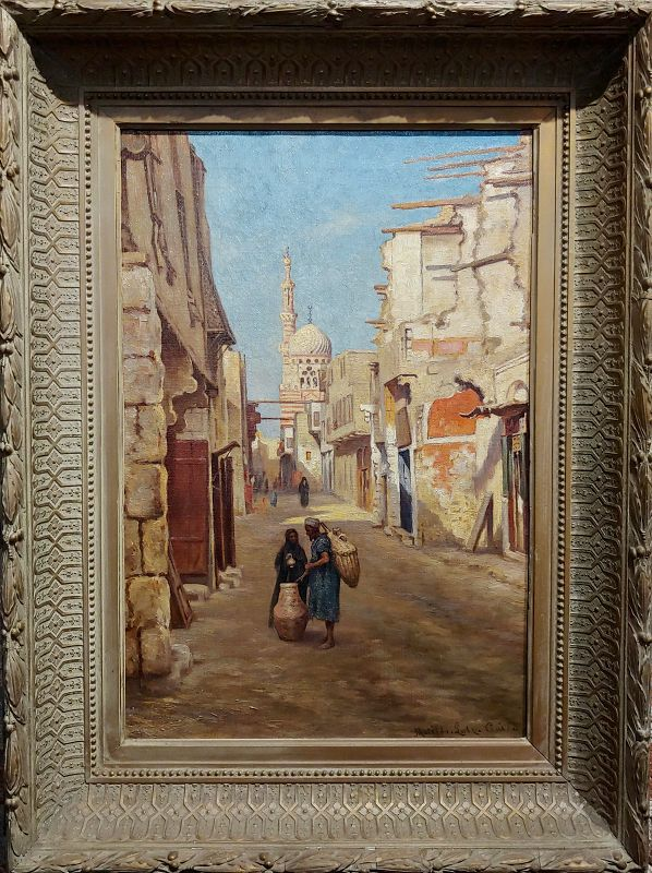 Matilda Lotz -Street in Cairo -Beautiful 19th Century Orientalist Oil Painting
