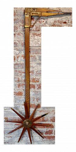 1910 Antique William Greenleaf Wood and Brass Lumber Caliper